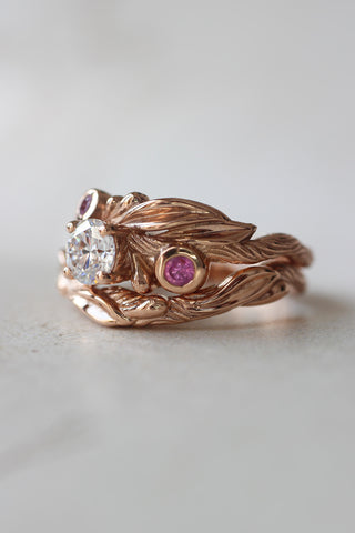 Bridal ring set with moissanite and pink sapphires / Olivia - Eden Garden Jewelry™