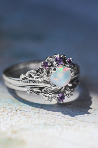 Bridal ring set with opal and amethysts / Ariadne - Eden Garden Jewelry™