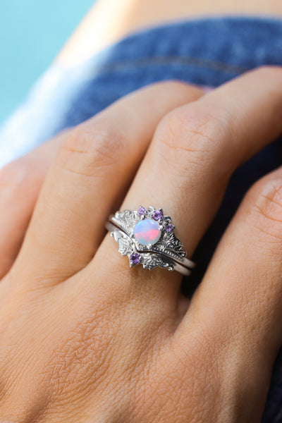 Bridal ring set with opal and amethysts / Ariadne - Eden Garden Jewelry