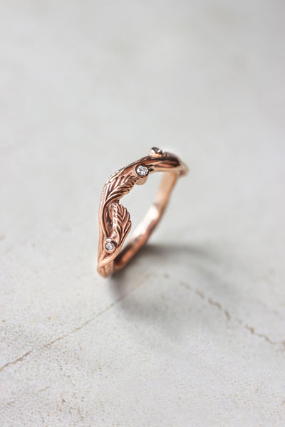Branch ring with diamonds or moissanites, matching band for Lily of the valley - Eden Garden Jewelry
