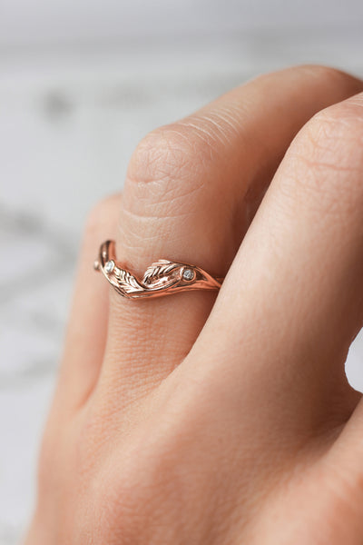 Lily of the valley bridal ring set - Eden Garden Jewelry