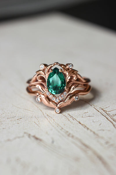 Lab emerald and moissanites or diamonds engagement ring / Lida - Eden Garden Jewelry