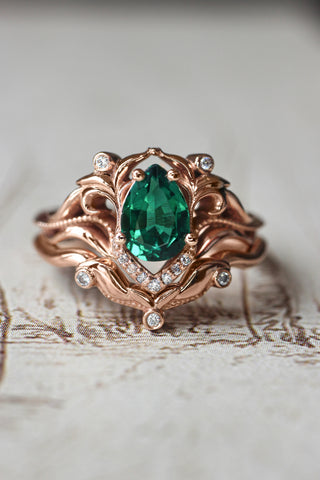 Lab emerald engagement ring, diamond wedding band set / Lida - Eden Garden Jewelry™