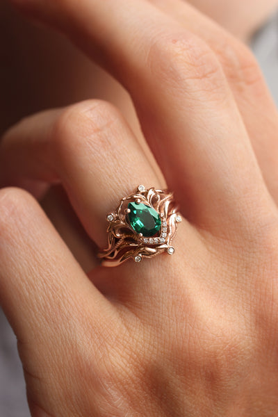 Lab emerald engagement ring, diamond wedding band set / Lida - Eden Garden Jewelry