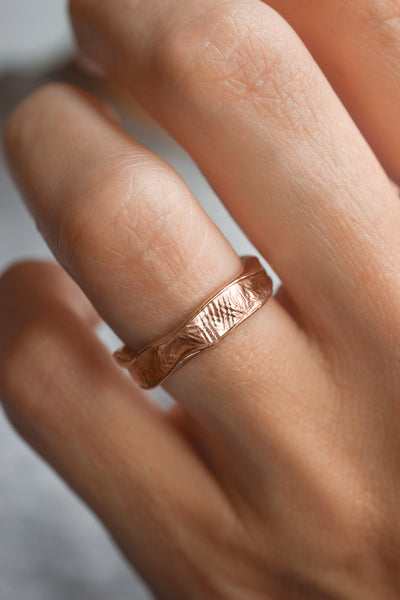 Textured women's wedding band, melted ring with fabric texture - Eden Garden Jewelry