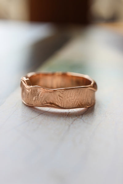 Textured wedding bands set for couple, melted rings with fabric texture - Eden Garden Jewelry™