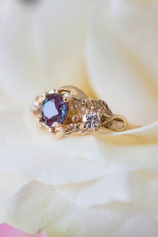 Alexandrite and diamonds engagement ring / Azalea - Eden Garden Jewelry