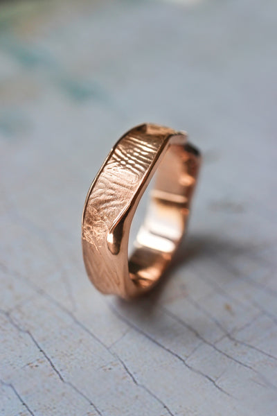 Textured men's wedding band, melted ring with fabric texture - Eden Garden Jewelry