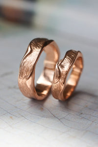 Textured wedding bands set for couple, melted rings with fabric texture - Eden Garden Jewelry