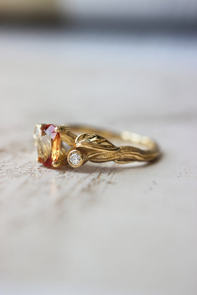 Bridal ring set with orange sapphire and diamonds / Arius - Eden Garden Jewelry