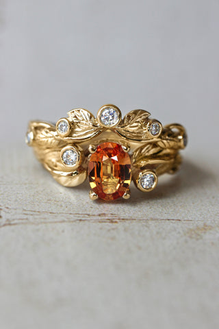 Bridal ring set with orange sapphire and diamonds / Arius - Eden Garden Jewelry™
