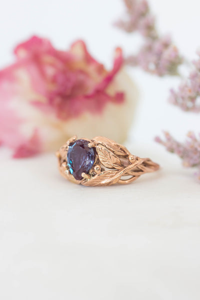 Pear cut Alexandrite engagement ring, leaves ring / Viola - Eden Garden Jewelry