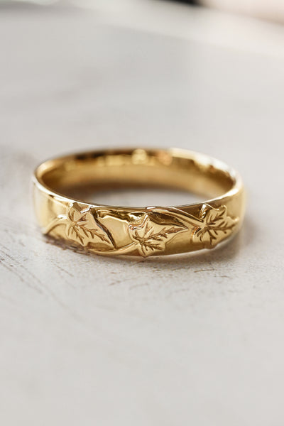 Men's wedding band, ivy leaves ring - Eden Garden Jewelry