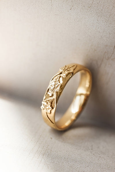 Men's wedding band, ivy leaves ring - Eden Garden Jewelry™