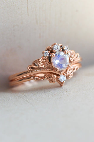 Bridal ring set with moonstone and diamonds / Ariadne - Eden Garden Jewelry™