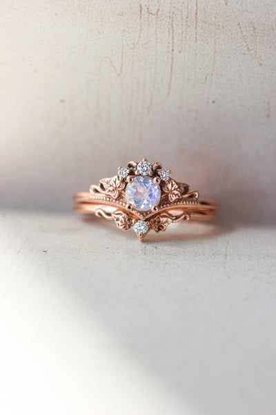 Bridal ring set with moonstone and diamonds / Ariadne - Eden Garden Jewelry