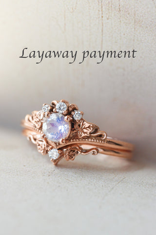 3 months payment plan: Ariadne ring set with moonstone and diamonds - Eden Garden Jewelry