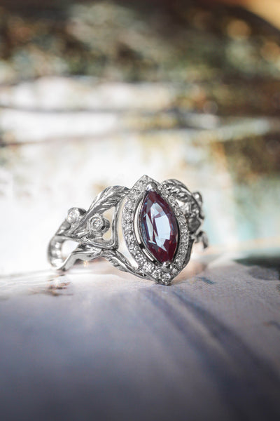 Lab alexandrite marquise ring, diamond halo engagement ring / Callisto - Eden Garden Jewelry