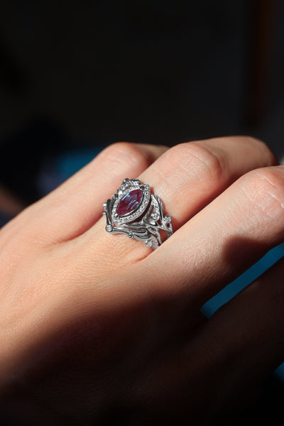 Art nouveau bridal ring set with alexandrite and diamond halo / Callisto - Eden Garden Jewelry™