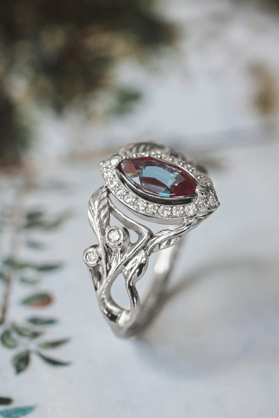 Lab alexandrite marquise ring, diamond halo engagement ring / Callisto - Eden Garden Jewelry™