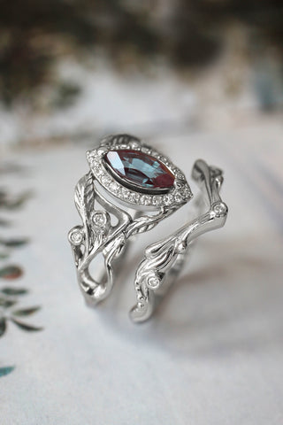 Art nouveau bridal ring set with alexandrite and diamond halo / Callisto - Eden Garden Jewelry