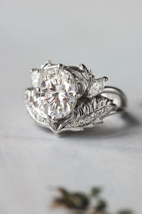 Oval moissanite engagement ring, white gold / Adonis - Eden Garden Jewelry™