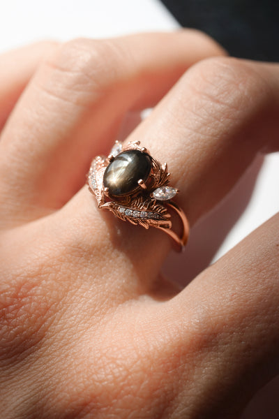 Black star sapphire engagement ring with moissanites / Adonis - Eden Garden Jewelry