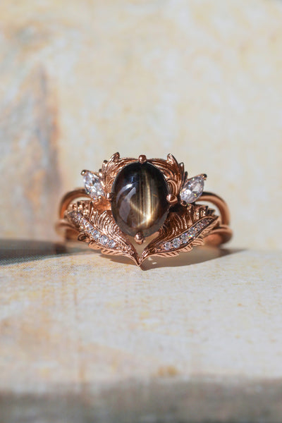 Black star sapphire engagement ring with moissanites / Adonis - Eden Garden Jewelry™