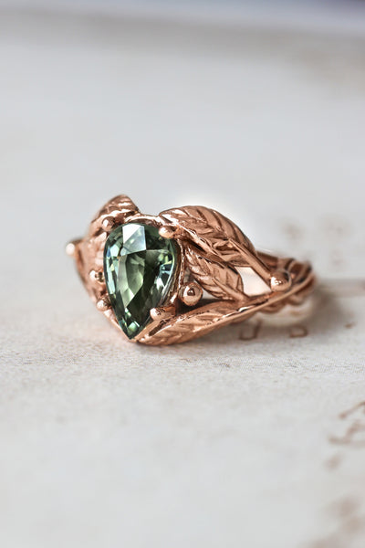 Green tourmaline leaves ring, pear cut engagement ring / Viola - Eden Garden Jewelry