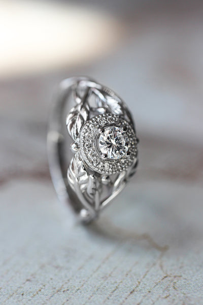 Leaf engagement ring with natural diamonds / Tilia halo - Eden Garden Jewelry