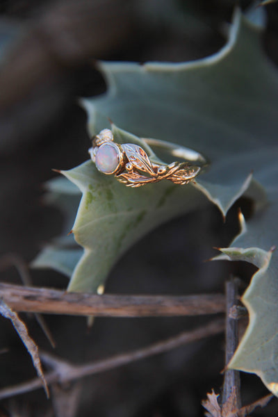 Opal ivy leaves engagement ring, nature leaves ring / Cornus - Eden Garden Jewelry