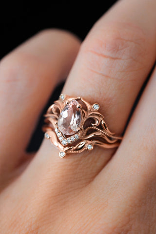 Morganite and diamonds bridal ring set / Lida - Eden Garden Jewelry™