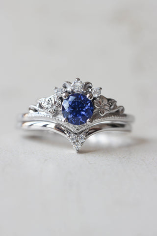 Bridal ring set with lab sapphire and diamonds / Ariadne simplified - Eden Garden Jewelry