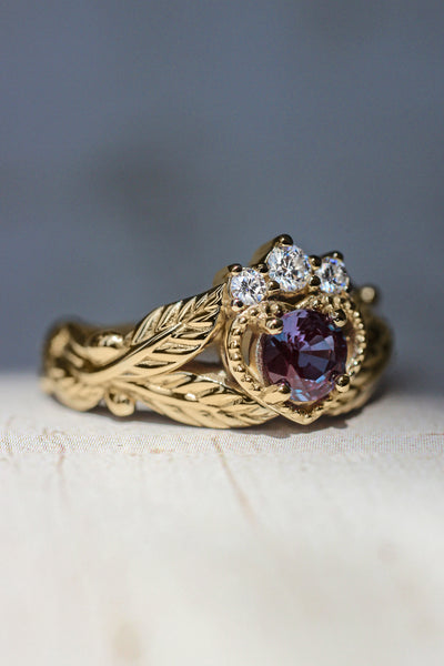 Alexandrite heart and diamonds engagement ring, Claddagh ring - Eden Garden Jewelry™