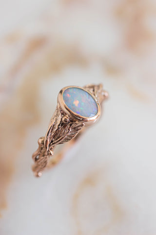 Fire opal engagement ring, leaves wedding band / Cornus oval cab - Eden Garden Jewelry