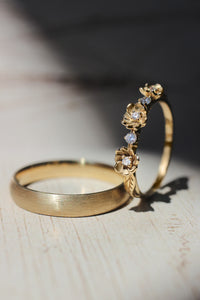 Wedding bands set for couple: satin band for him, flower ring for her - Eden Garden Jewelry