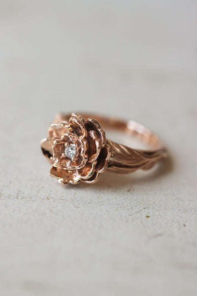 Peony flower engagement ring with diamond or moissanite - Eden Garden Jewelry™