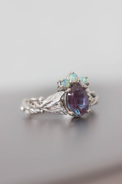 Alexandrite and opals engagement ring / Tiarella - Eden Garden Jewelry™