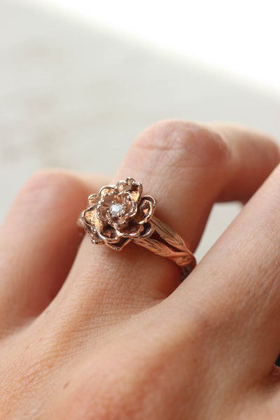 Peony flower engagement ring with diamond or moissanite - Eden Garden Jewelry