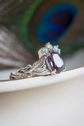 Alexandrite and opals engagement ring / Tiarella - Eden Garden Jewelry