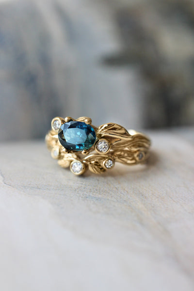 Branch engagement ring with sapphire and diamonds / Arius - Eden Garden Jewelry