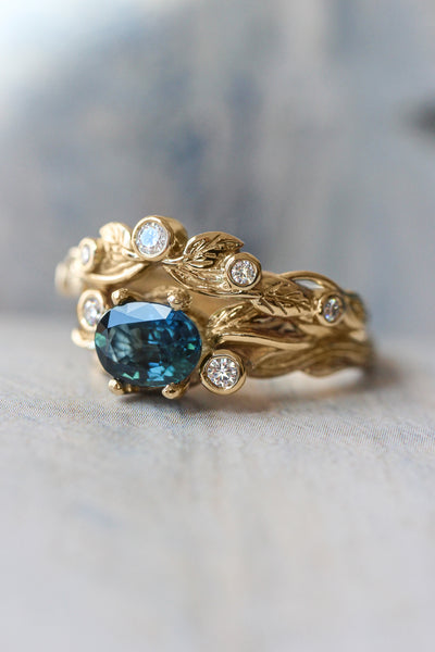 Bridal ring set with teal sapphire and diamonds / Arius - Eden Garden Jewelry