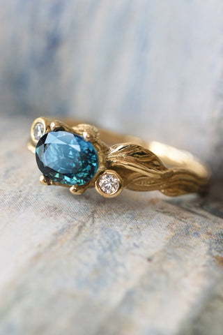 Branch engagement ring with sapphire and diamonds / Arius - Eden Garden Jewelry™