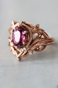 Art nouveau bridal ring set with rhodolite garnet / Lida oval - Eden Garden Jewelry