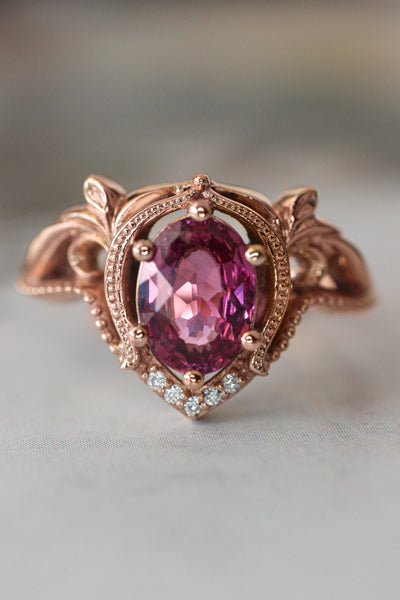 Rhodolite garnet and moissanites or diamonds engagement ring / Lida oval