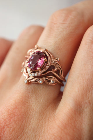 Custom order: bridal ring set with morganite and diamonds / Lida oval - Eden Garden Jewelry