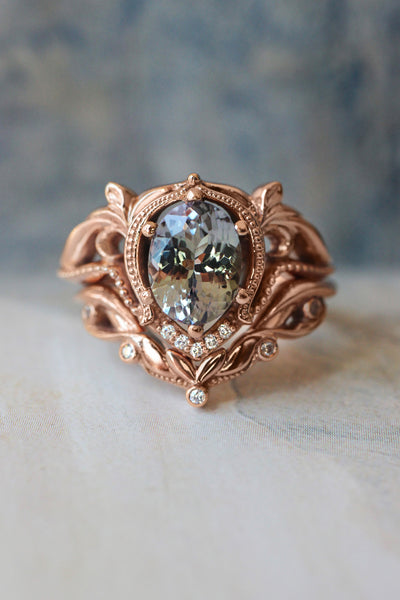 Art nouveau bridal ring set with tanzanite / Lida oval - Eden Garden Jewelry