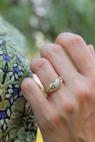 Leaves engagement ring with opal, gold branch ring / Tilia - Eden Garden Jewelry