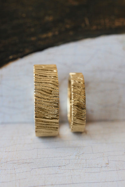 Wedding bands set for couple, saw wood rings - Eden Garden Jewelry™