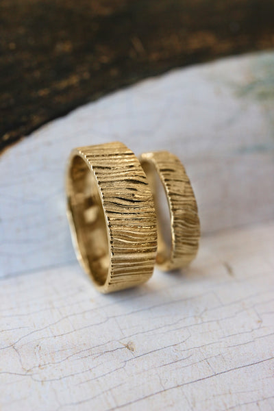 Wedding bands set for couple, saw wood rings - Eden Garden Jewelry